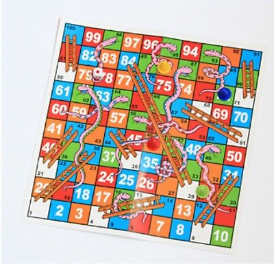 Complete Set Snakes And Ladders Board Game 2-4 Dice Incl Kids Games 28cm sq C UK