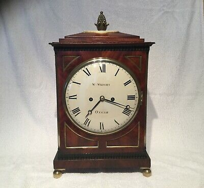 Classic Regency period mahogany and brass embellished twin fusee bracket clock