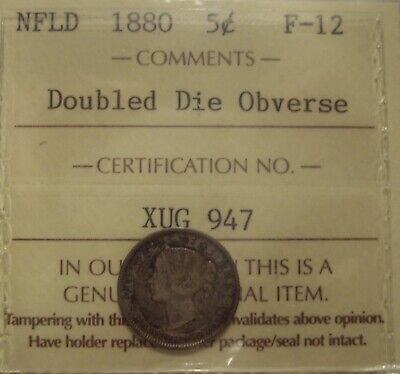 Canada Newfoundland 1880 Double Die Obv Silver 5 Cents - ICCS F-12 (XUG 947)