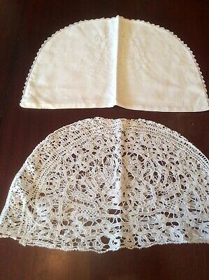 2 x Vintage Tea Cosy Covers  ONE WHITEWORK ONE LACE ( D )