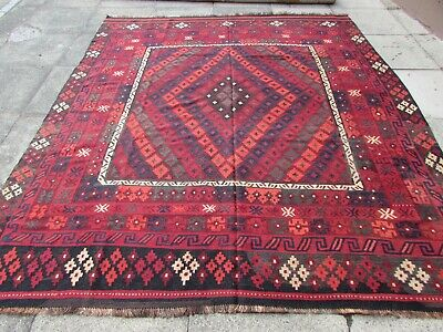 Kilim Vintage Traditional Hand Made Oriental Red Wool Large Kilim 280x240cm