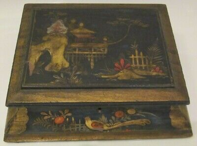 Old Vintage Antique Chinese Lacquer Box  Hand Painted