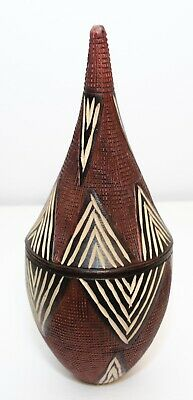 Vintage Wooden Cone Shape Beautiful Design Hand Carved Box With Lid (African ?)