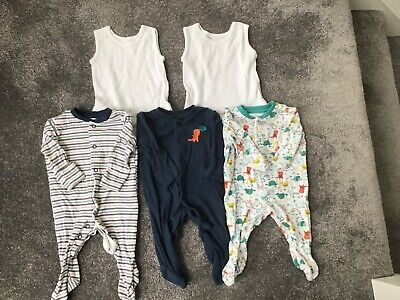 Baby Boy Babygrows Sleepsuits All In One Outfit Vests Bundle Newborn 0-1 Month