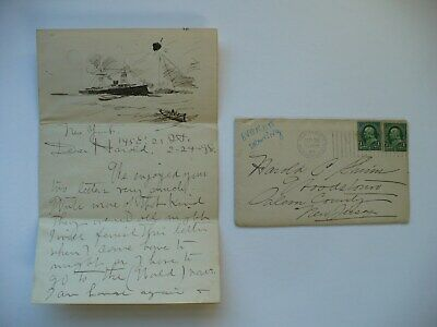 Rare Feb. 24 1898 Letter & Sinking Of The Maine Sketch By Artist Everett Shinn