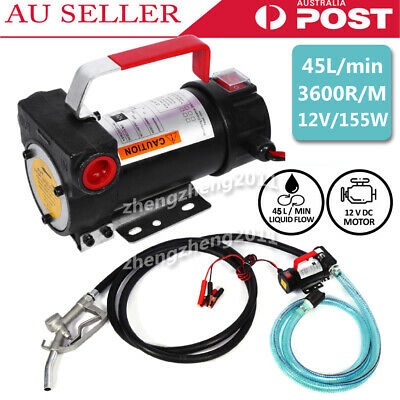 12V Diesel Transfer Pump Portable Electric Fuel Oil Extractor Station 45L/Min AU
