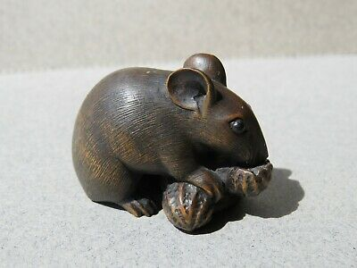 19th Century Japanese Antique Boxwood Rat Netsuke Signed Masanao Superbly Carved