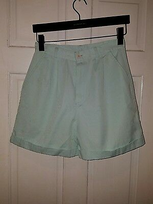 vtg 70s high waist balloon pleated dress shorts aqua teal light sky baby blue 28