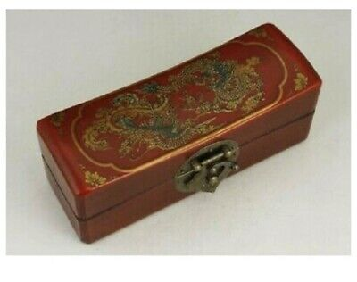 Chinese collection of antique old wood red dragon and phoenix leather box