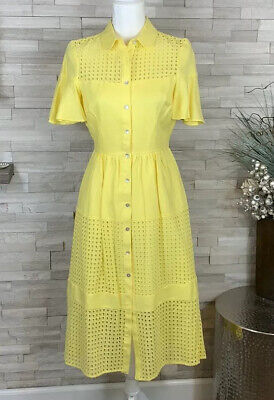 NWT Belle Badgley Mischka Womens Lemon Daily Dress Ruffle Sleeve Midi Dress SZ 0