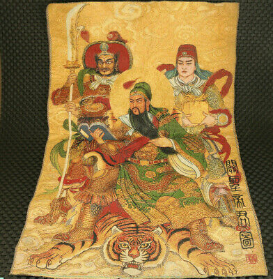 old chinese canvas Hand painting guangong statue figure noble decoration gift