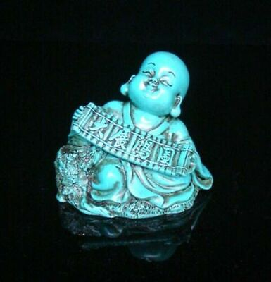 Collectible china Old Decorated Turquoise monk Great ideal Statue buddha 大展鸿图