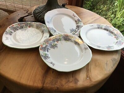 Set 4 Vintage Side Plates ,floral ,Hand Painted,Royal Stafford,art Deco