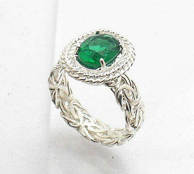 Size 8 Emerald Gemstone Byzantine Band Ring Real Solid 925 Sterling Silver