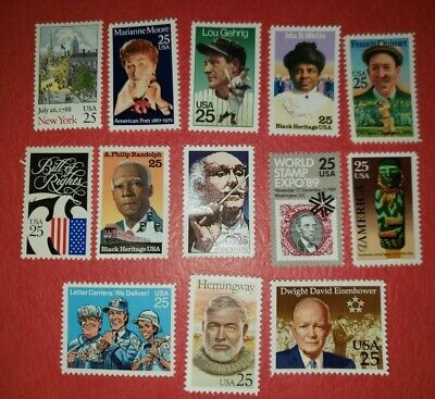 US Mint Never Hinged Postage Stamps 13 Different 25c Stamps   Face Value $3.25