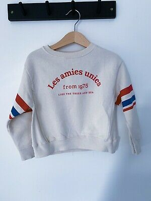 Zara Girls Age 5 French Slogal Red White And Blue Cropped Jumper