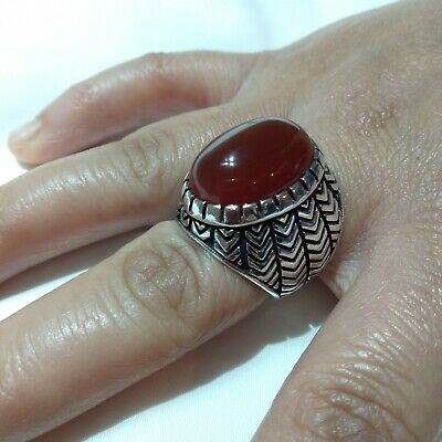 Ancient Victorian Silver Ring beautiful Agate Stone Rare Antique Old vintage