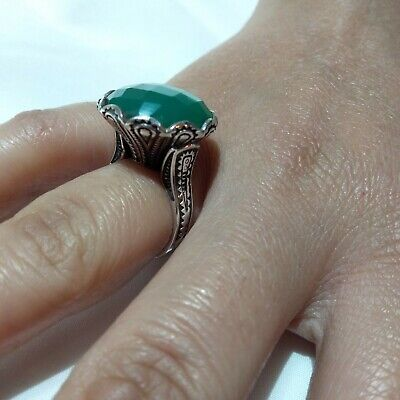 Ancient Victorian Silver Ring Beautiful Red Jade Stone Rare Antique Old vintage