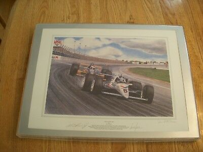 "Original Signed Jim Swintal Lithograph ""The Fastest 500"" Al Unser Jr Bobby Rahal"