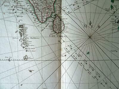 Atlas Rigobert Bonne Map INDIA Sri Lanka Pakistan Engraving Original 18th