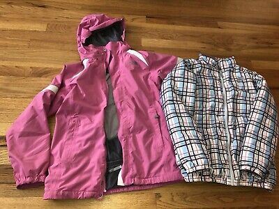 Girls The North Face Hyvent 2-1 Pink Plaid Hooded Ski Jacket Coat Youth XL 18