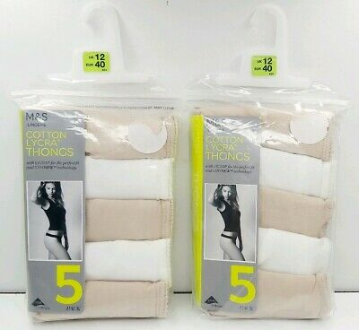 M&S Size 12 Thongs 10 Pairs Cotton Lycra White Nude Beige New Marks And Spencer