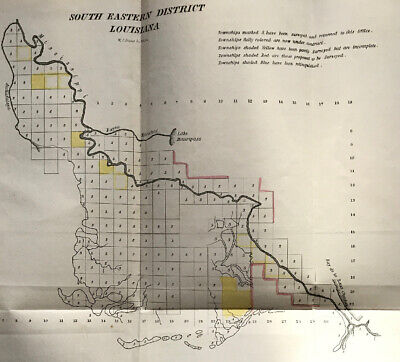 South Eastern District Louisiana Map October 1840 Hand Colored