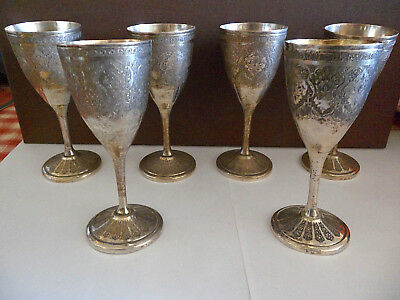 Antique Persian Set 6 Silver Cups Glasses Islamic Hallmarked Indo Mughal, Kilij