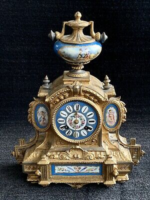 Japy Freres Sevres Porcelain Antique French Clock ~ c. 1870 ~ cherubs