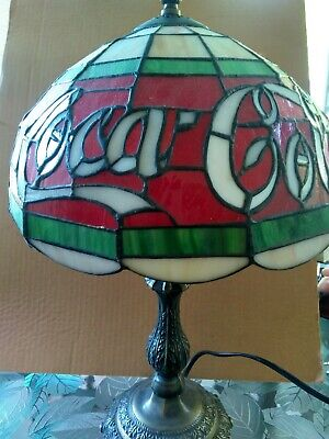 Coca Cola 20 Inch Tiffany Style Stain Glass Lamp