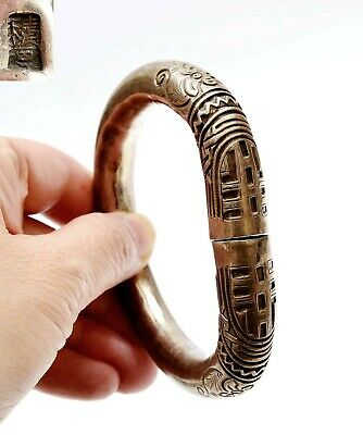 1930's Chinese Sterling Silver Bangle Bracelet Cuff Marked
