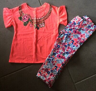 Girls Orange Floral Outfit Size 4/5