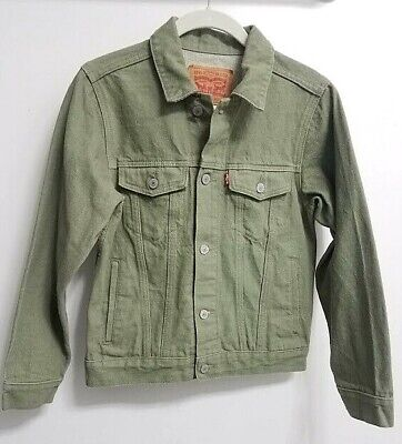 Levis Kids Boys Girls Light Green Sage Olive Denim Trucker Jean Jacket Size L