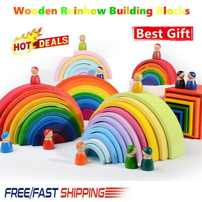 11X Wooden Rainbow Building Stacking Blocks Baby Toddler Montessori Toy Gifts UK