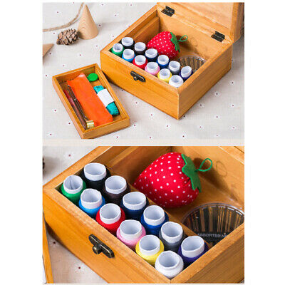 Home Vintage Style Empty Wooden Sewing Box Basket Thread Needle Storage Box Case
