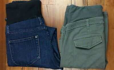 Ripe Maternity Jeans Over Belly Size Small - Lot of 2 Pants Blue Denin and Green