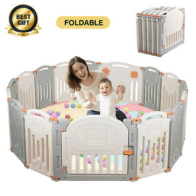 16 Panel Large Foldable Baby Kids Play pens Playpen Room Divider Educational Toy