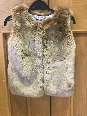 Girls Brown Fur Gilet Age 2-3 Next