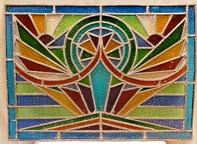 Stained Glass Leaded Colored Panels Vintage Art Deco Architectural Salvage Old#1
