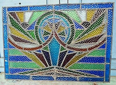 Stained Glass Leaded Colored Panels Vintage Art Deco Architectural Salvage Old#3