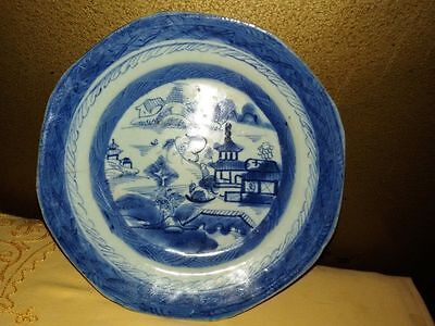 Antique 18thC Chinese Export Canton Nanking Blue White Plate rare and genuine