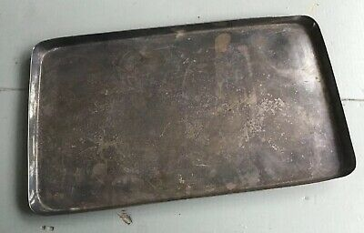"Antique Vintage Silver Plated Serving Drinks Tray 11""x7"" Lipped Edge"