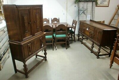 Oak Jacobean 9 Piece Dining Room Suite NICE!! Table Chairs Hutch Sideboard