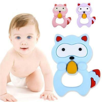 Baby Infant Silicone Teether Raccoon Baby Ring Chewing Teething Toys 6L