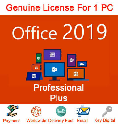 Ms Office 2019 Pro Plus 32/64 Bit Lifetime License 1Pc Key & Link 5 Mins Genuine
