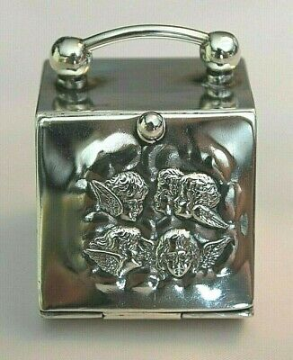 Antique Vintage Sterling Silver Reynolds Angels Miniature Coal Scuttle Ring Box