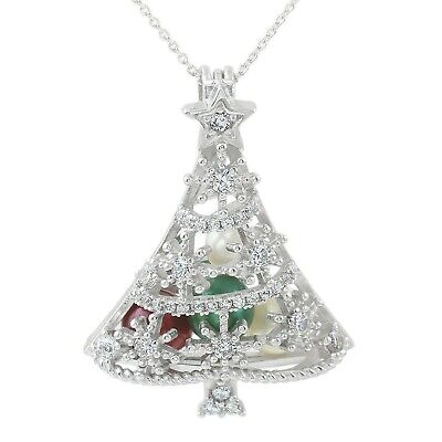 925 Sterling Silver Christmas Tree 0.48 Carat CZ Pearl Cage Pendant & Necklace