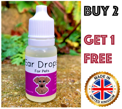 Ear Drops for Pets - Dogs, Cats, Rabbits - Mite & Canker Relief Oil Treatment