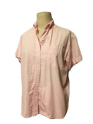 VTG 80's 90's Forenza Pink White Stripe Cotton S Button Up Short Sleeve Shirt S