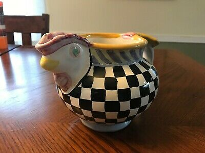 MACKENZIE CHILDS -  Courtly Check Piccadilly Chicken Pitcher - RETIRED